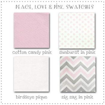 Peace, Love, and Pink Bedding Collection Fabric Swatches Only