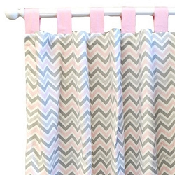 Pink & Gray Chevron Curtains Panels  |  Peace, Love & Pink Crib Collection