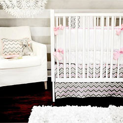 Peace & Love: Pink and Gray Crib Bedding