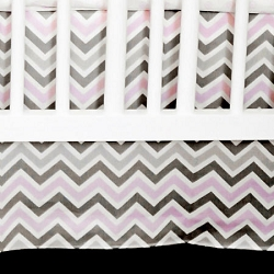 Pink & Gray Chevron Crib Skirt  |  Peace, Love & Pink Crib Collection