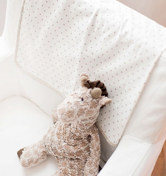 Khaki Polka Dot Baby Blanket | Pebble Moon Crib Collection