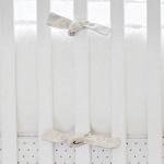White & Khaki Crib Bumper  |  Pebble Moon Crib Collection