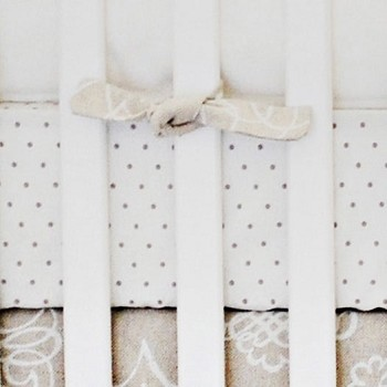 Khaki Polka Dot Crib Sheet | Pebble Moon Collection