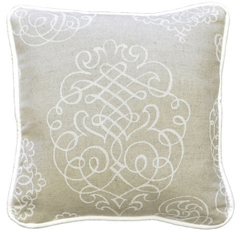 Khaki Scroll Throw Pillow  |  Pebble Moon Crib Collection