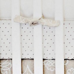 Khaki & White Polka Dot Crib Sheet | Picket Fence Crib Collection