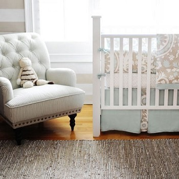 Khaki & Aqua Suzani Baby Bedding | Picket Fence Crib Collection