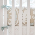 Khaki and Aqua Crib Bumper | Picket Fence Crib Collection
