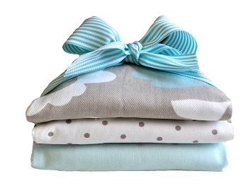 Aqua and Khaki Burp Cloth | Picket Fence Collection