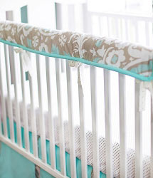 Khaki & Aqua Suzani Crib Rail Guard  |  Picket Fence Crib Collection