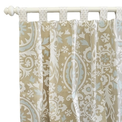 Khaki and Aqua Suzani Curtains  |  Picket Fence Crib Collection