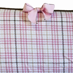 Pink and Chocolate Plaid Custom Crib Bumper