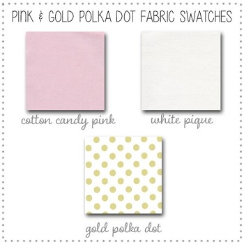 Gold & Pink Crib Rail Cover Collection Fabric Swatches Only