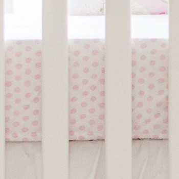 Pink Polka Dot Crib Sheet  |  White Crib Rail Guard Collection