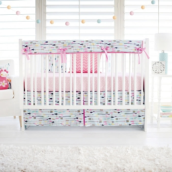 Aqua and Pink Arrow Crib Rail Guard Set  |  Little Explorer in Pink Crib Collection