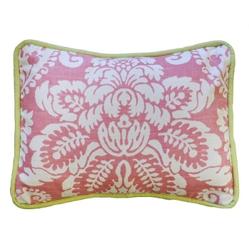 Pink Damask with Green Trim Throw Pillow | Bloom in Pink Crib Collection