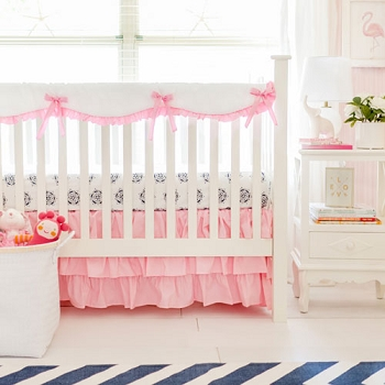 Pink Crib Rail Cover Set | Pink Bumperless Crib Collection