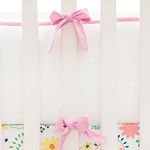 White Pique with Hot Pink/Magenta Trim Crib Bumper