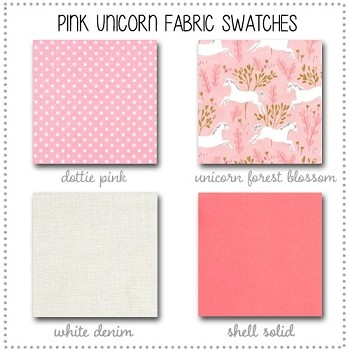 Pink Unicorn Crib Bedding Collection Fabric Swatches Only