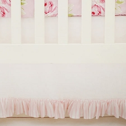 Linen White Crib Skirt with Pink Stripe Ruffle | Pink Desert Rose Collection