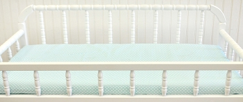 Aqua and White Changing Pad Cover  |  Piper in Aqua Crib Collection