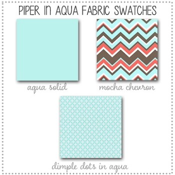 Piper in Aqua Bedding Collection Fabric Swatches Only
