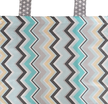 Aqua, Gray & Yellow Chevron Curtain Valance