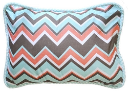 Chevron Pillow | Piper in Aqua Crib Collection