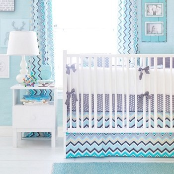 Aqua & Gray Chevron Baby Bedding  |  Piper in Gray Crib Collection