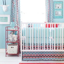 Orange & Aqua Chevron Crib Bedding  |  Piper in Aqua Crib Collection