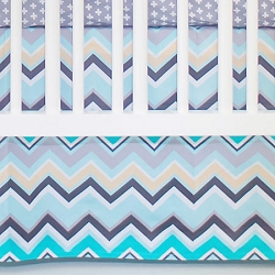 Aqua and Gray Chevron Crib Skirt | Piper in Gray Crib Collection