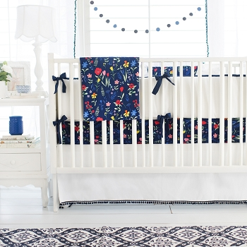 Navy Floral Baby Bedding | Poppyfields Crib Collection