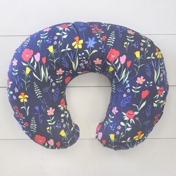 Navy Floral Nursing Pillow Slipcover | Poppyfields Collection