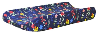 Navy Floral Changing Pad Cover | Poppyfield Crib Collection