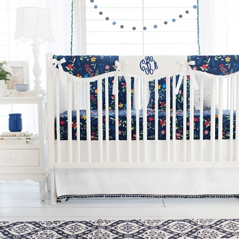 Navy Floral Crib Rail Cover Set | Poppyfield Bumperless Crib Collection