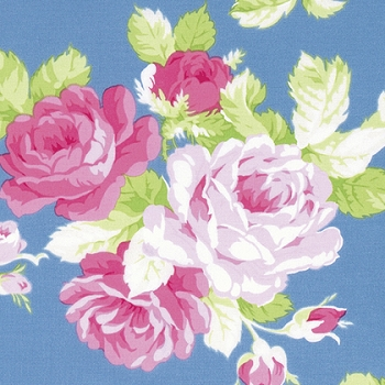 Rose Floral Fabric | Sadie's Dance Card Blue