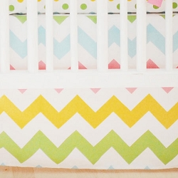 Rainbow Chevron Crib Skirt | Zig Zag Baby Rainbow Crib Collection