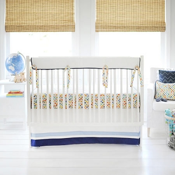 Blue and White Crib Rail Guard Set | Rhapsody in Blue Crib Collection