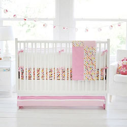 Pink & White Origami Baby Bedding  |  Rhapsody in Pink Crib Collection