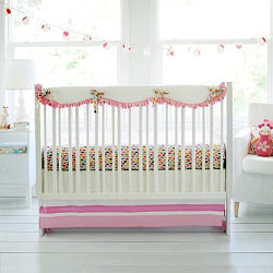 Pink & White Crib Rail Guard  |  Rhapsody in Pink Crib Collection