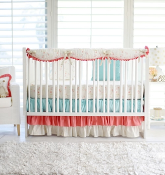 Coral Floral Girl Bedding Crib Rail Cover Set | Rosemilk Bumperless Crib Collection