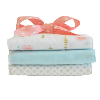 Gold and Coral Rose Burp Cloths Set | Rosemilk Crib Collection