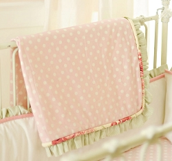 Pink Polka Dot Baby Blanket | Roses for Bella Crib Collection