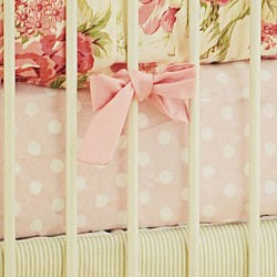 Pink Polka Dot Crib Sheet | Roses for Bella Collection