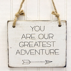 Rustic Wooden Sign - You Are Our Greatest Adventure
