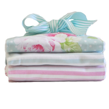 Aqua Rose Burp Cloth Set | Sadie's Dance Aqua Crib Collection