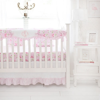 Pink Roses Crib Rail Cover Set  | Sadie's Dance in Pink Bumperless Crib Collection