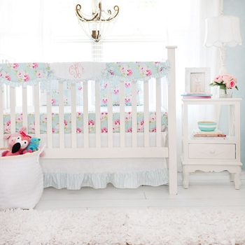 Aqua Roses Crib Rail Guard Set  | Sadie's Dance in Aqua Bumperless Crib Collection