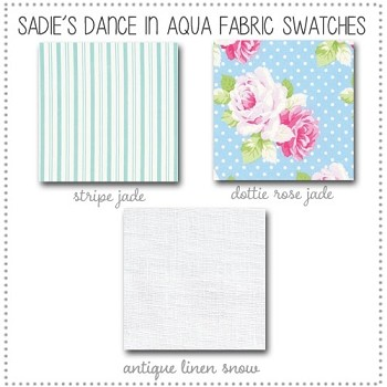 Sadie's Dance in Aqua Bedding Collection Fabric Swatches Only