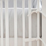 White & Gray Crib Bumper  |  Safari in Gray Crib Collection