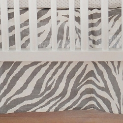 Gray Animal Print Crib Skirt  |  Safari in Gray Crib Collection